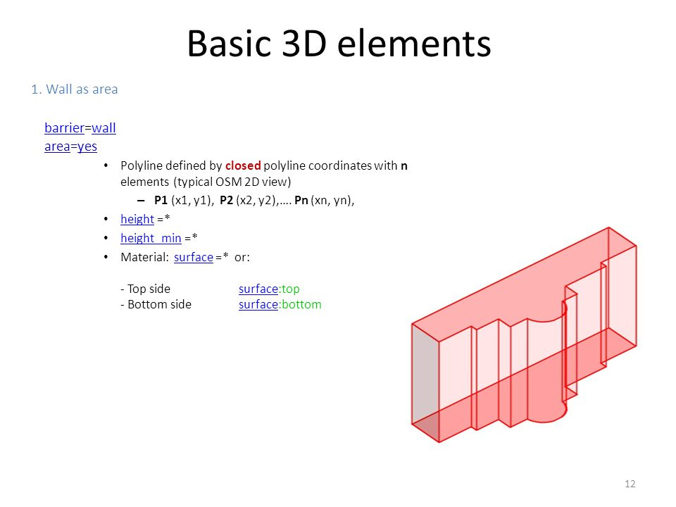 Basic 3D elements 1. Wall as area barrier=wall area=yes