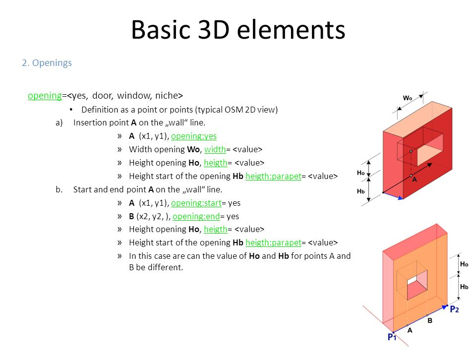 Basic 3D elements 2. Openings opening=<yes, door, window, niche>