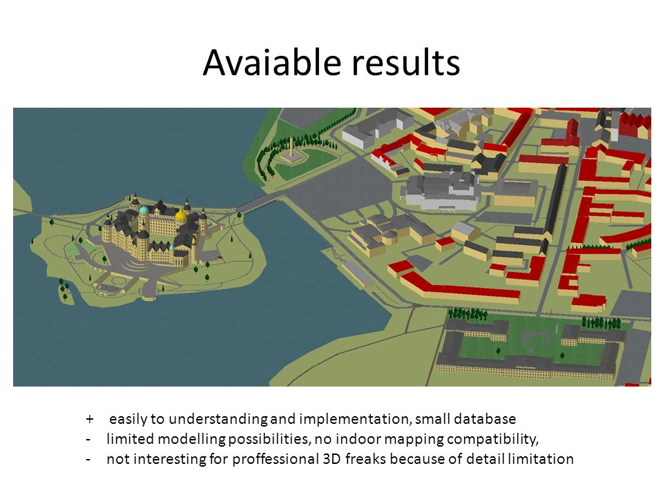 Avaiable results + easily to understanding and implementation, small database. limited modelling possibilities, no indoor mapping compatibility,
