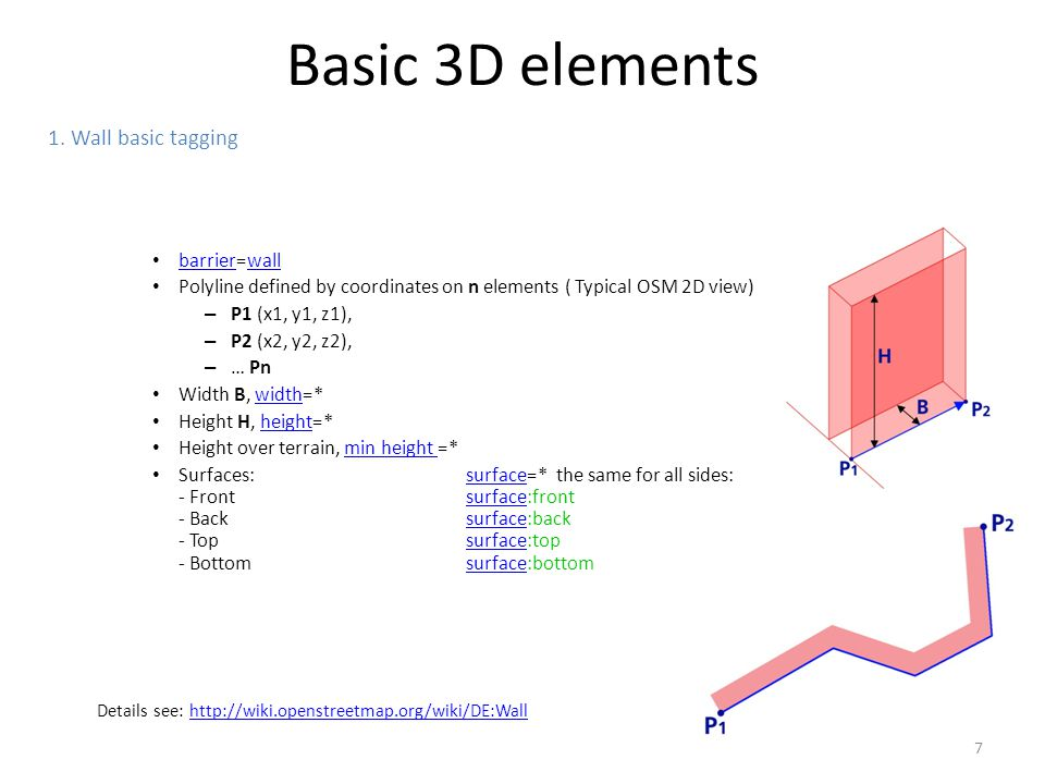 Basic 3D elements 1. Wall basic tagging barrier=wall