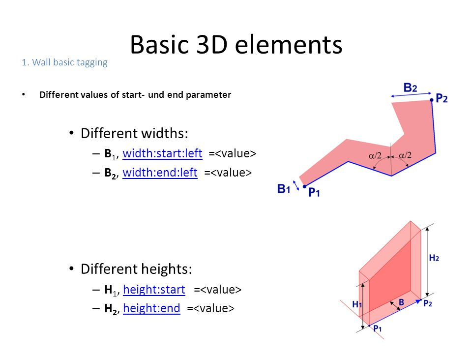 Basic 3D elements Different widths: Different heights: