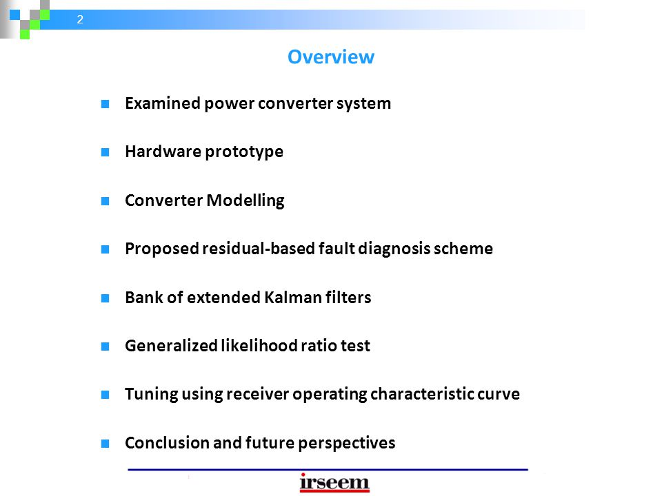 Overview Examined power converter system Hardware prototype