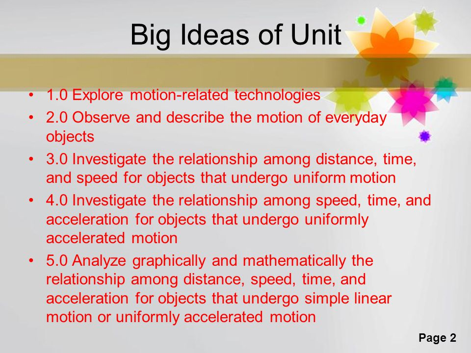 Big Ideas of Unit 1.0 Explore motion-related technologies