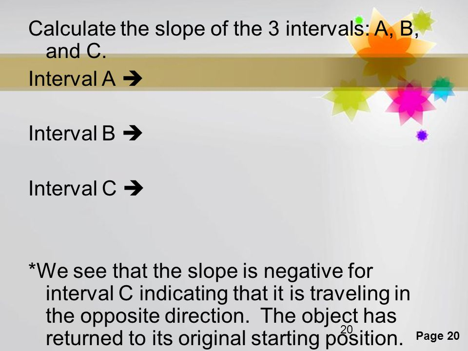 Calculate the slope of the 3 intervals: A, B, and C.