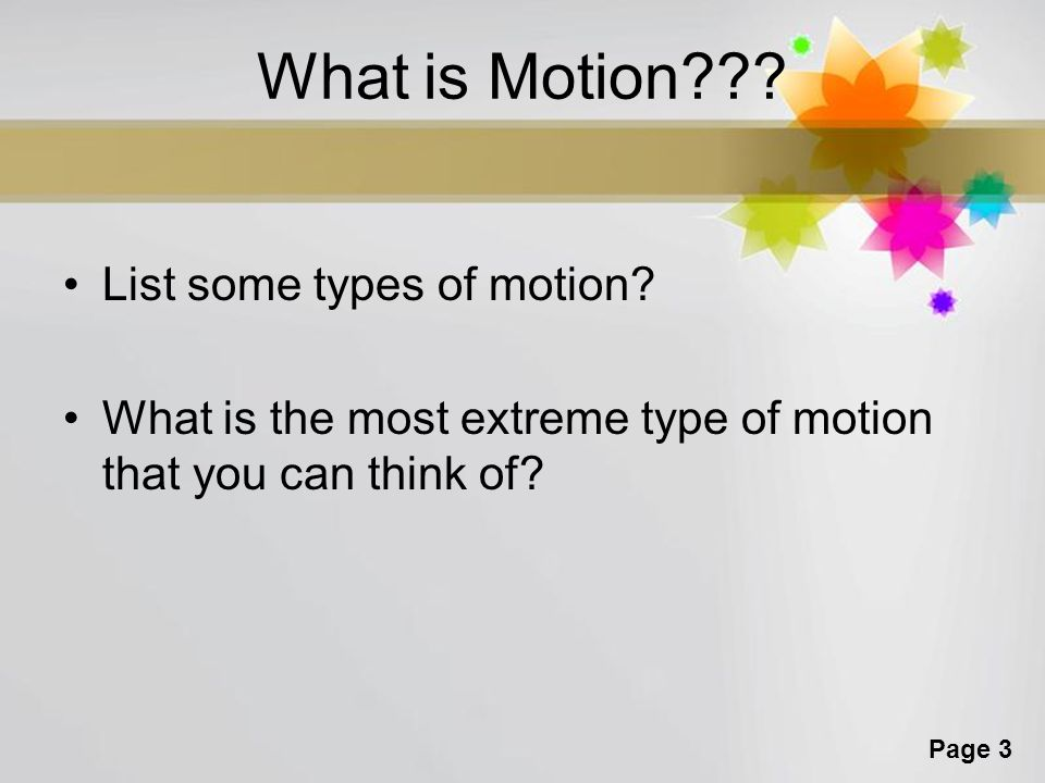 What is Motion List some types of motion