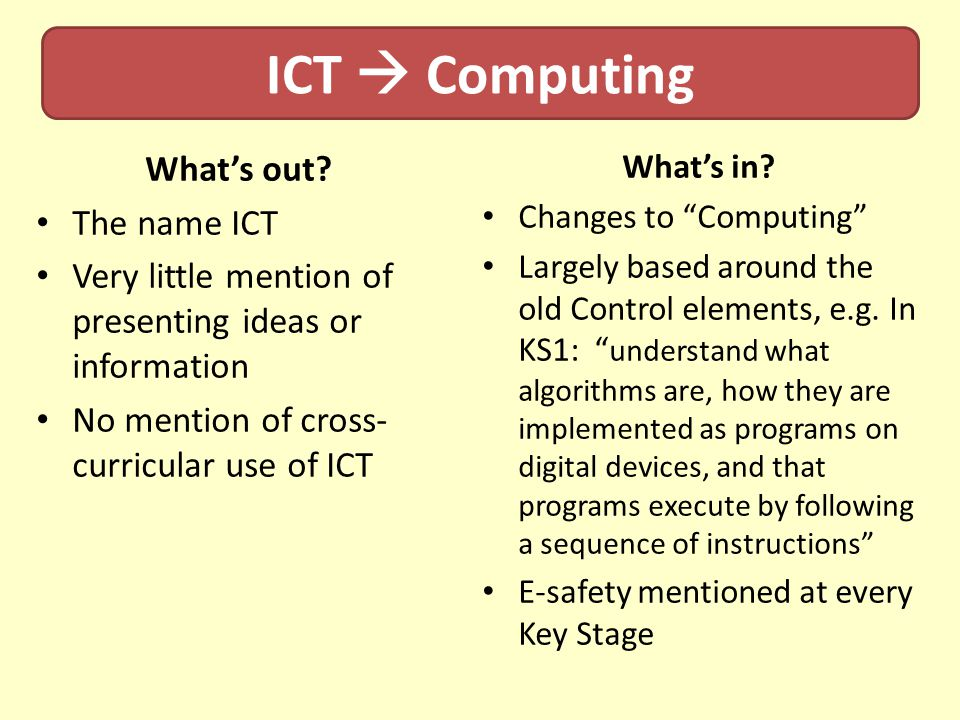 ICT  Computing What's out The name ICT