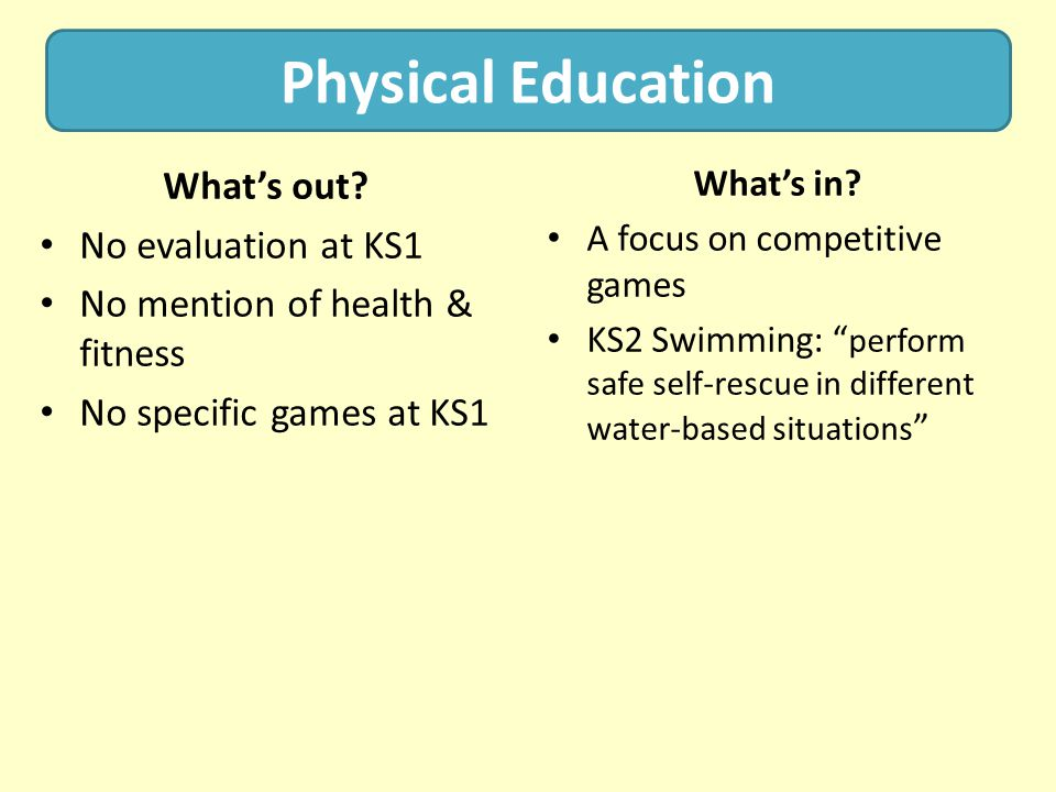 Physical Education What's out No evaluation at KS1