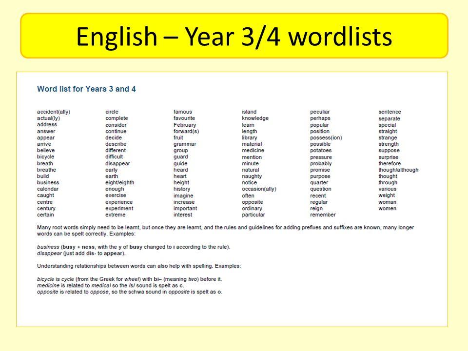 English – Year 3/4 wordlists