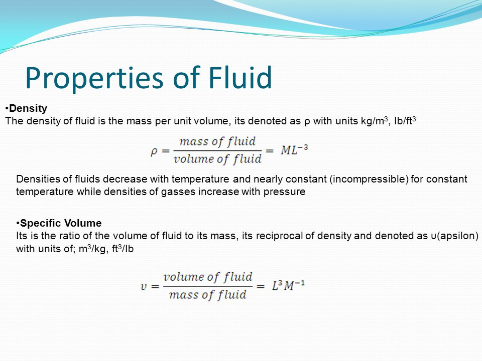 Properties of Fluid Density