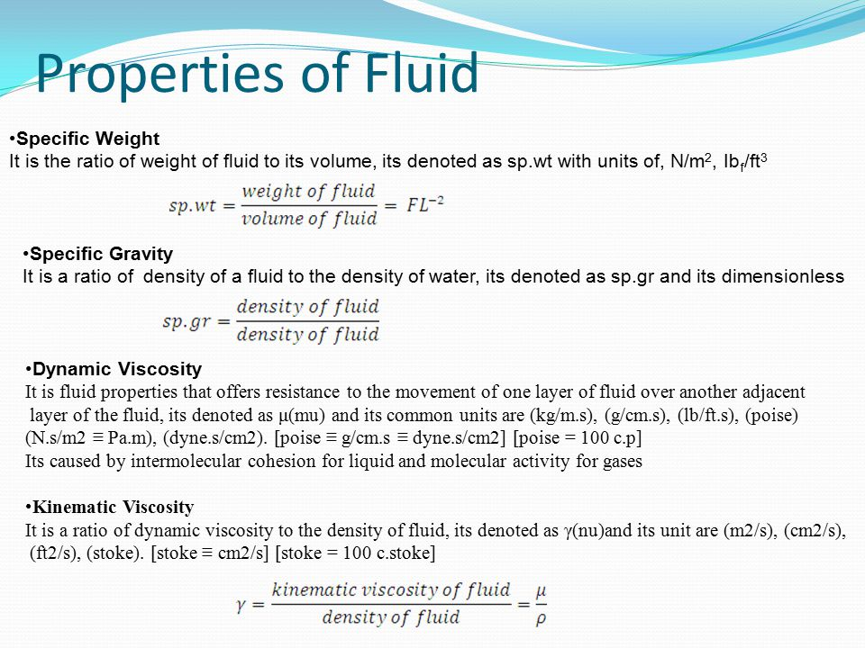 Properties of Fluid Specific Weight
