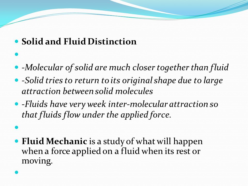 Solid and Fluid Distinction