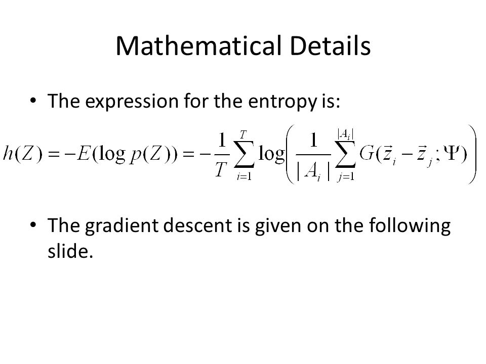 Mathematical Details The expression for the entropy is: