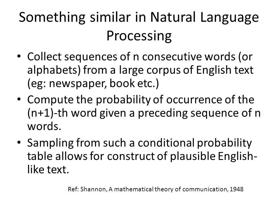 Something similar in Natural Language Processing