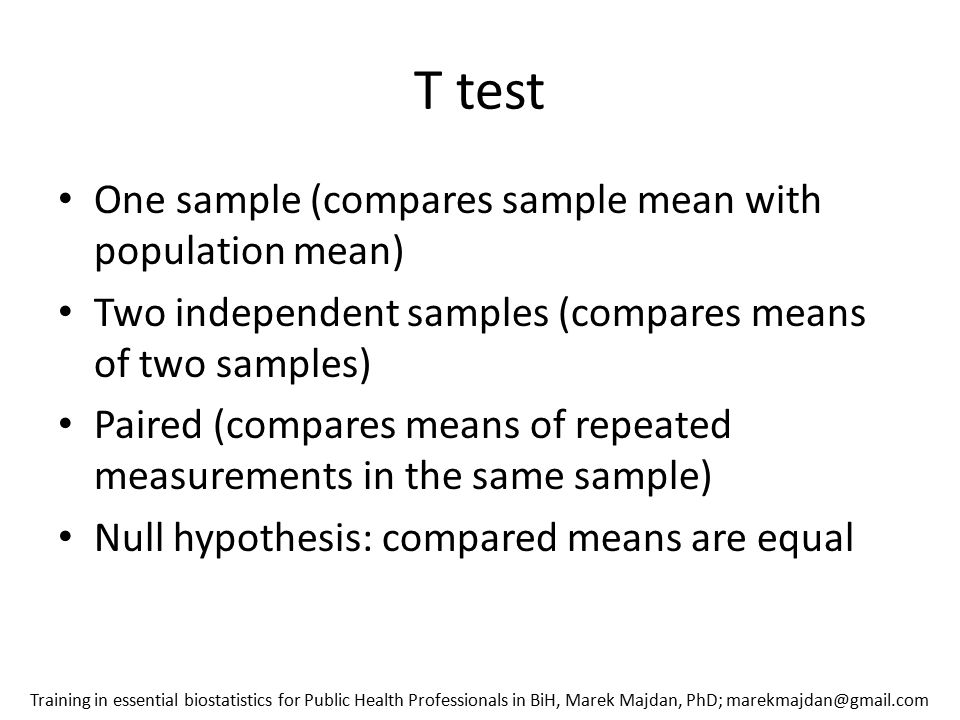 T test One sample (compares sample mean with population mean)