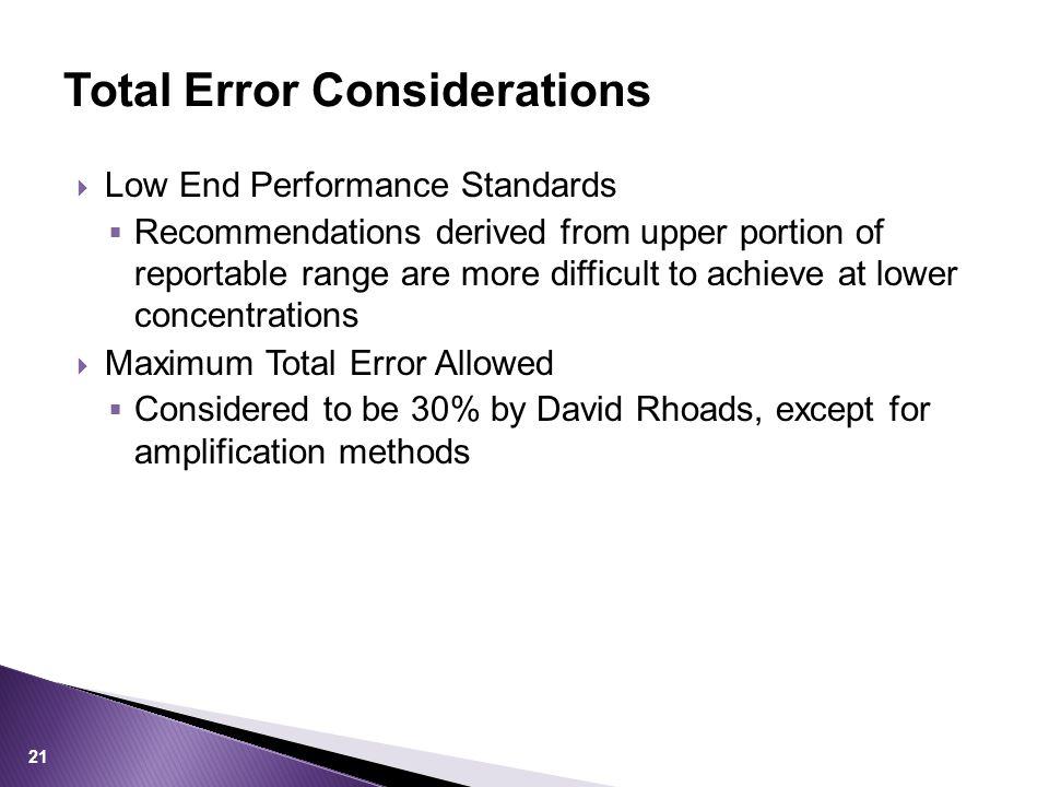 Total Error Considerations