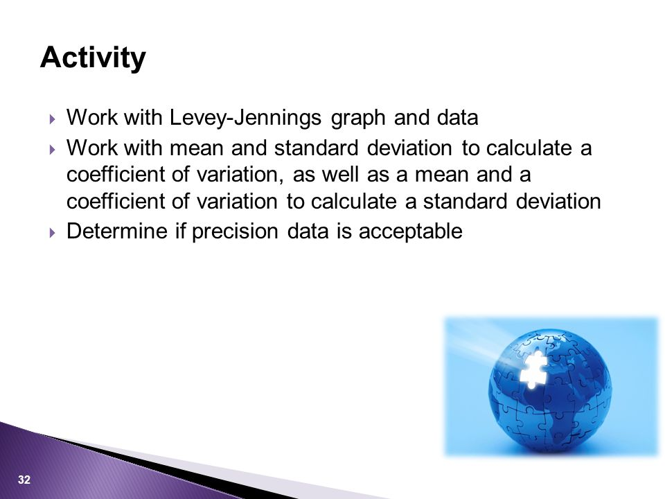 Activity Work with Levey-Jennings graph and data
