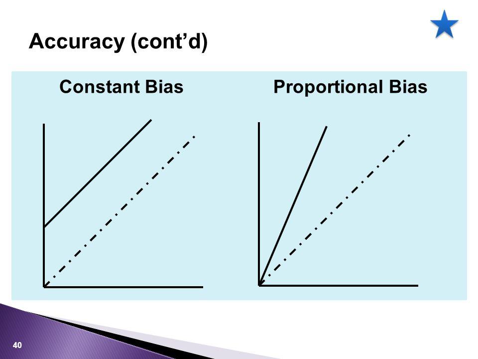 Accuracy (cont'd) Constant Bias Proportional Bias