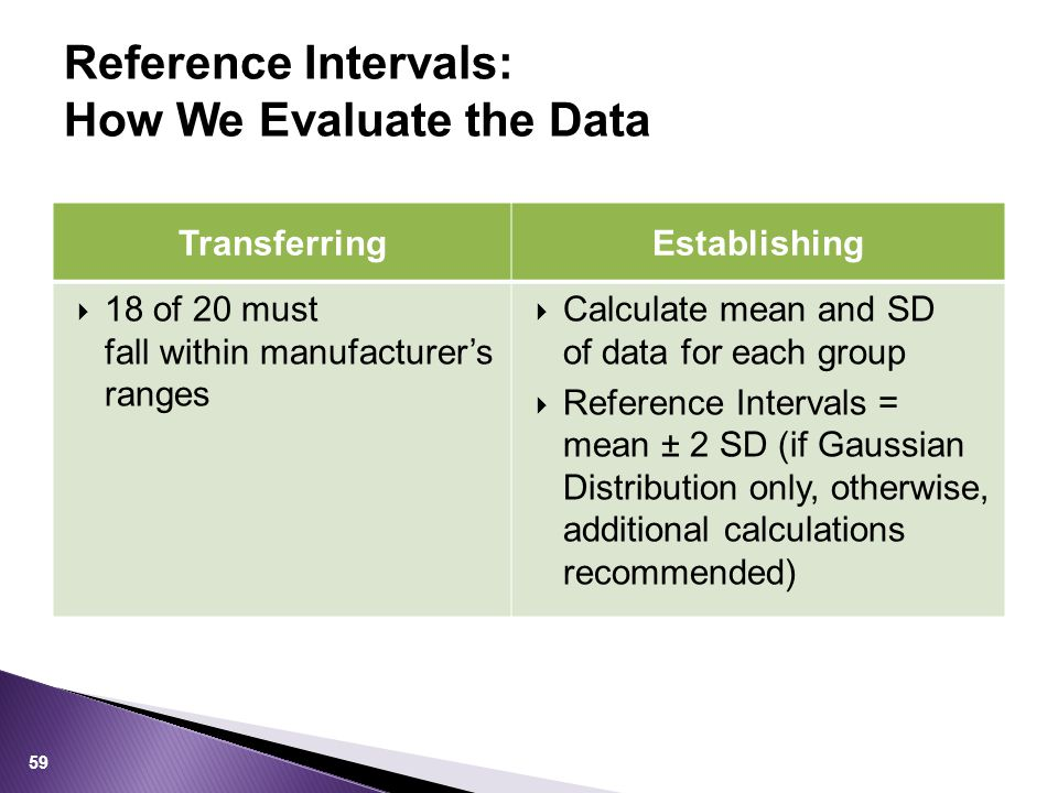 Reference Intervals: How We Evaluate the Data