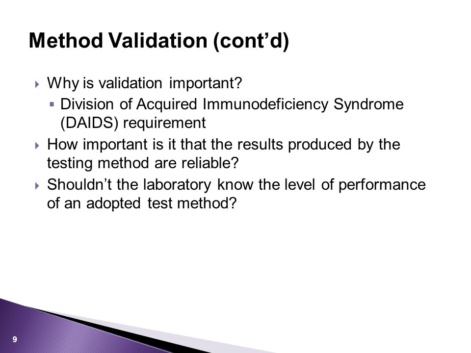 Method Validation (cont'd)