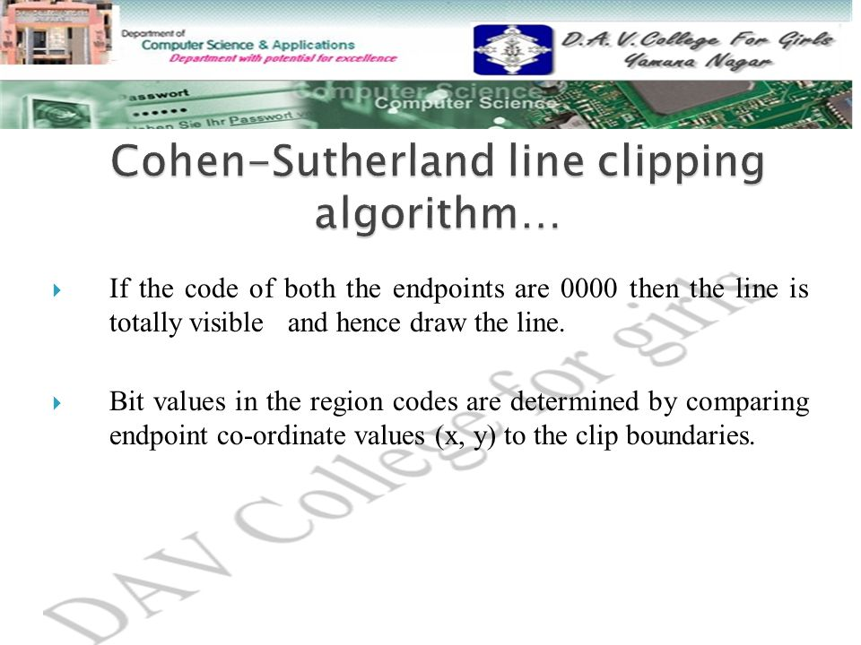 Cohen-Sutherland line clipping algorithm…