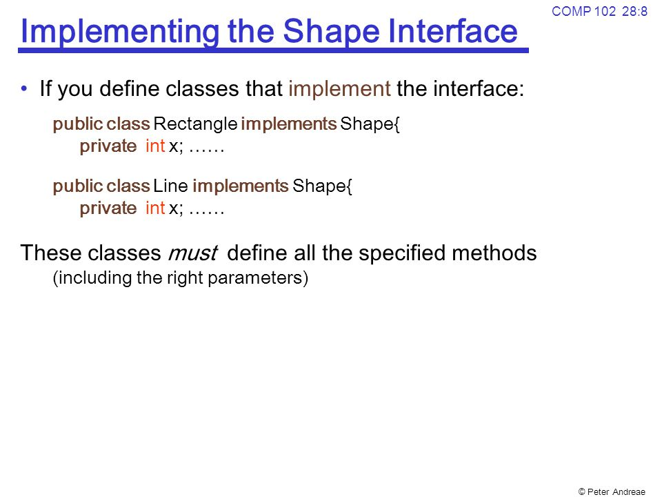 Implementing the Shape Interface