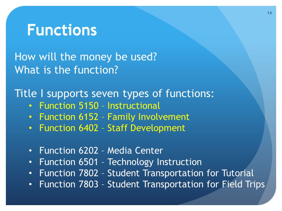 Functions Functions How will the money be used What is the function
