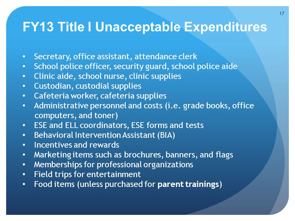 FY13 Title I Unacceptable Expenditures