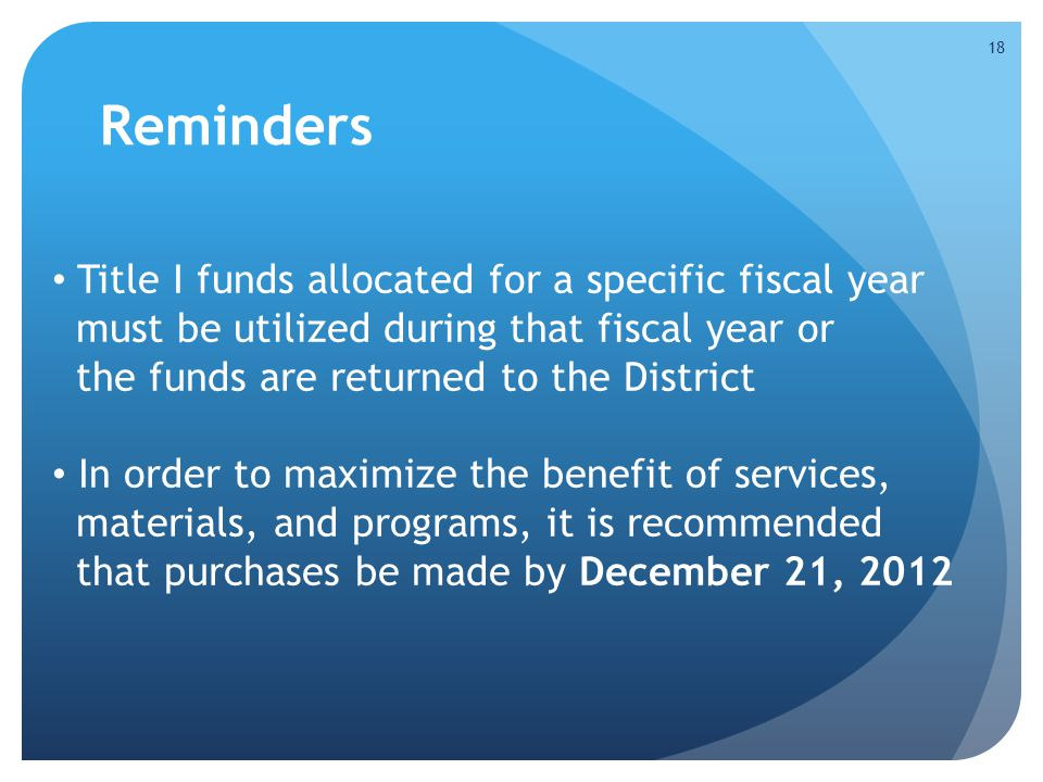 Reminders Title I funds allocated for a specific fiscal year