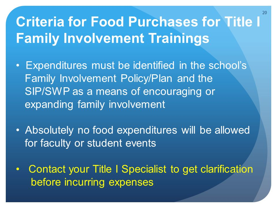 Criteria for Food Purchases for Title I Family Involvement Trainings