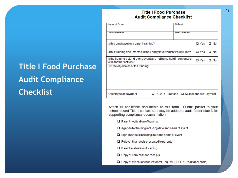 Title I Food Purchase Audit Compliance Checklist