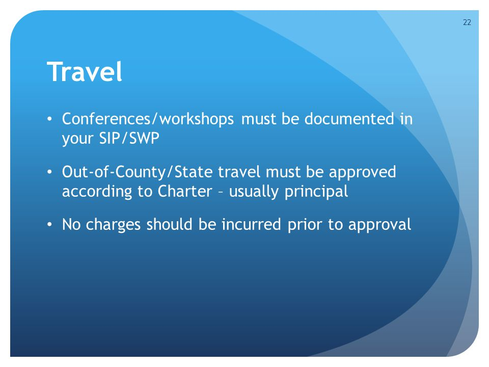 Travel Conferences/workshops must be documented in your SIP/SWP