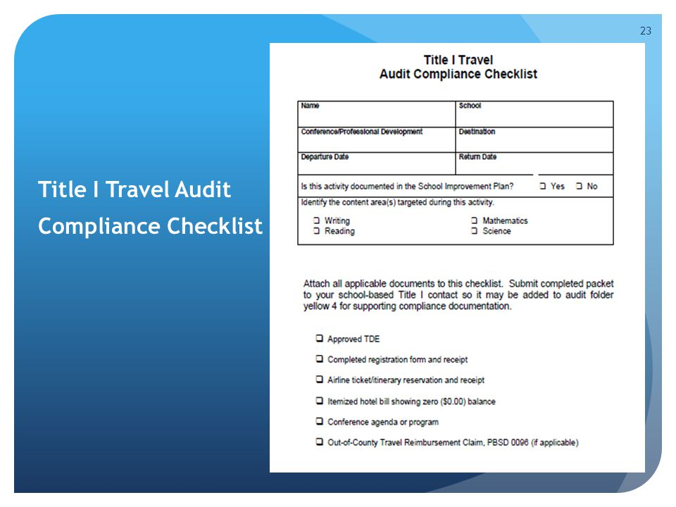 Title I Travel Audit Compliance Checklist handout, page 24 in handbook