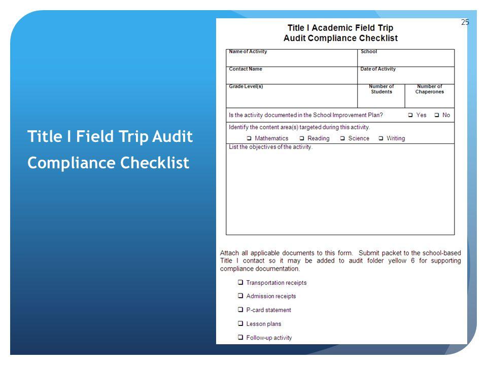 Title I Field Trip Audit Compliance Checklist