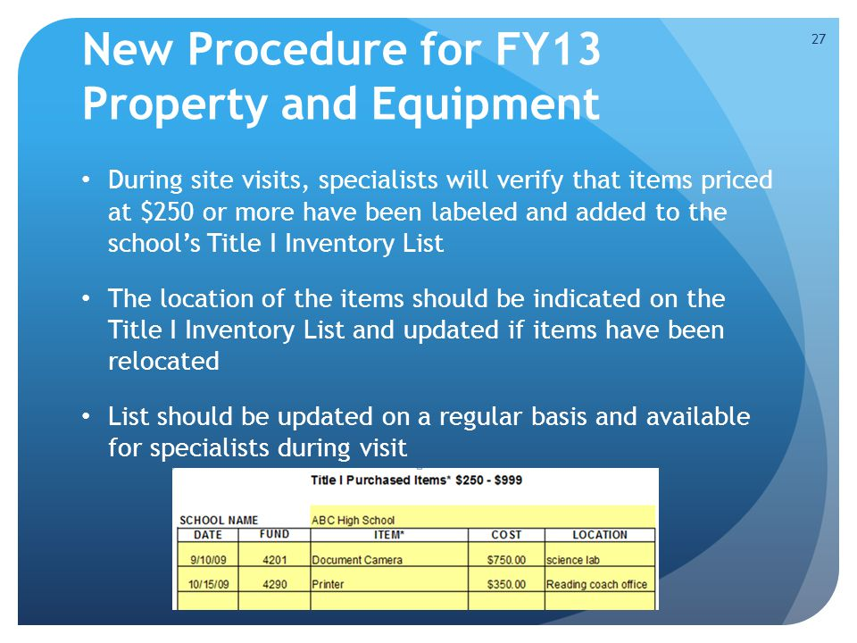 New Procedure for FY13 Property and Equipment