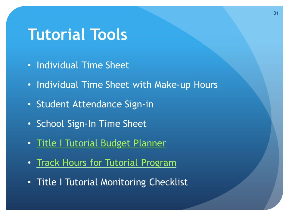 Tutorial Tools Individual Time Sheet