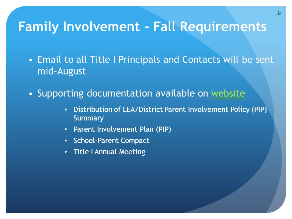 Family Involvement – Fall Requirements