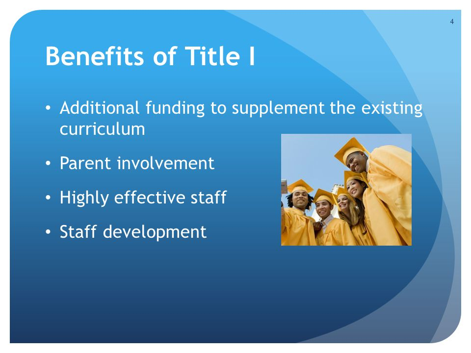 Benefits of Title I Additional funding to supplement the existing curriculum. Parent involvement.