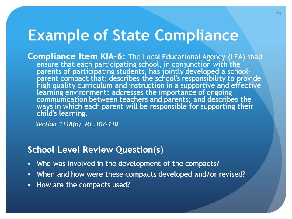 Example of State Compliance