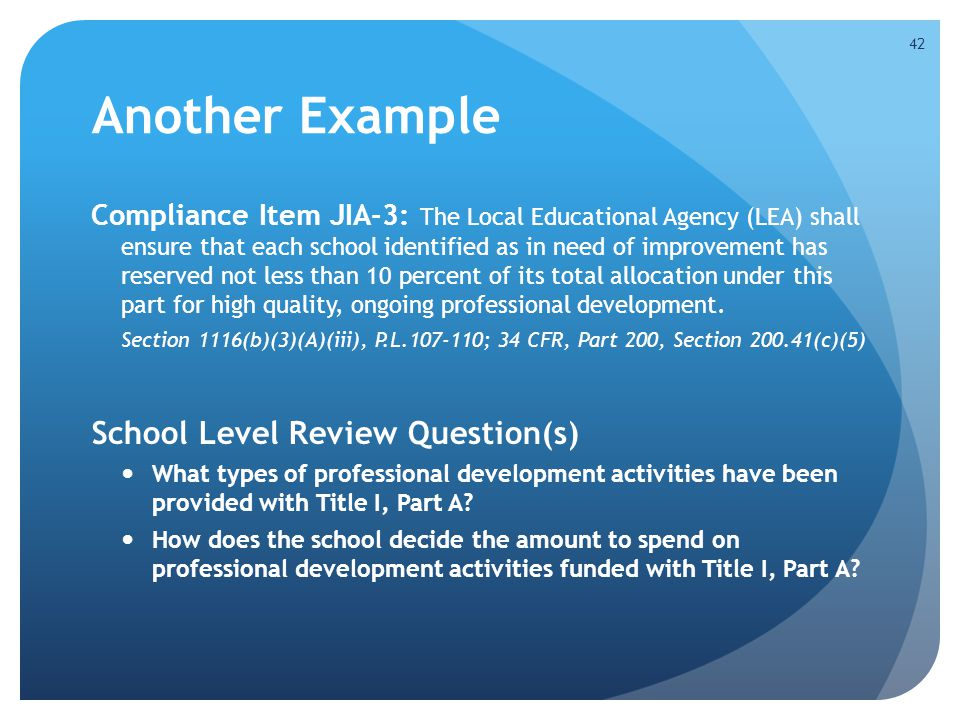Another Example School Level Review Question(s)