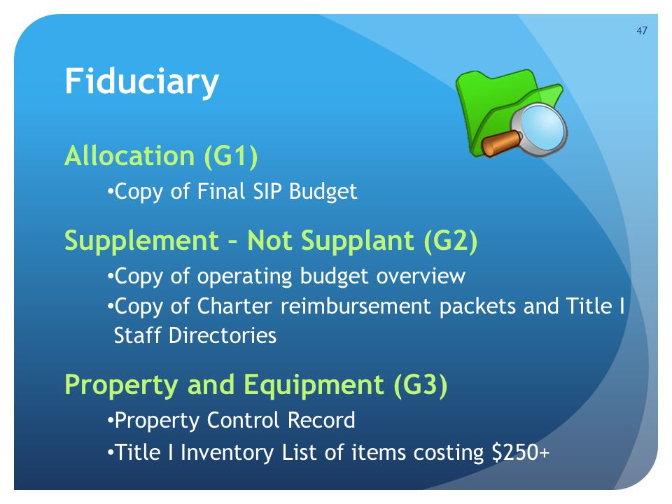 Fiduciary Allocation (G1) Supplement – Not Supplant (G2)