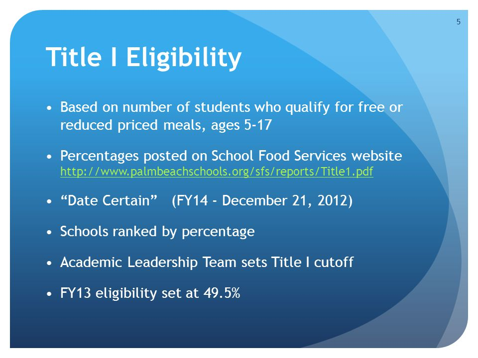 Title I Eligibility Based on number of students who qualify for free or reduced priced meals, ages 5-17.