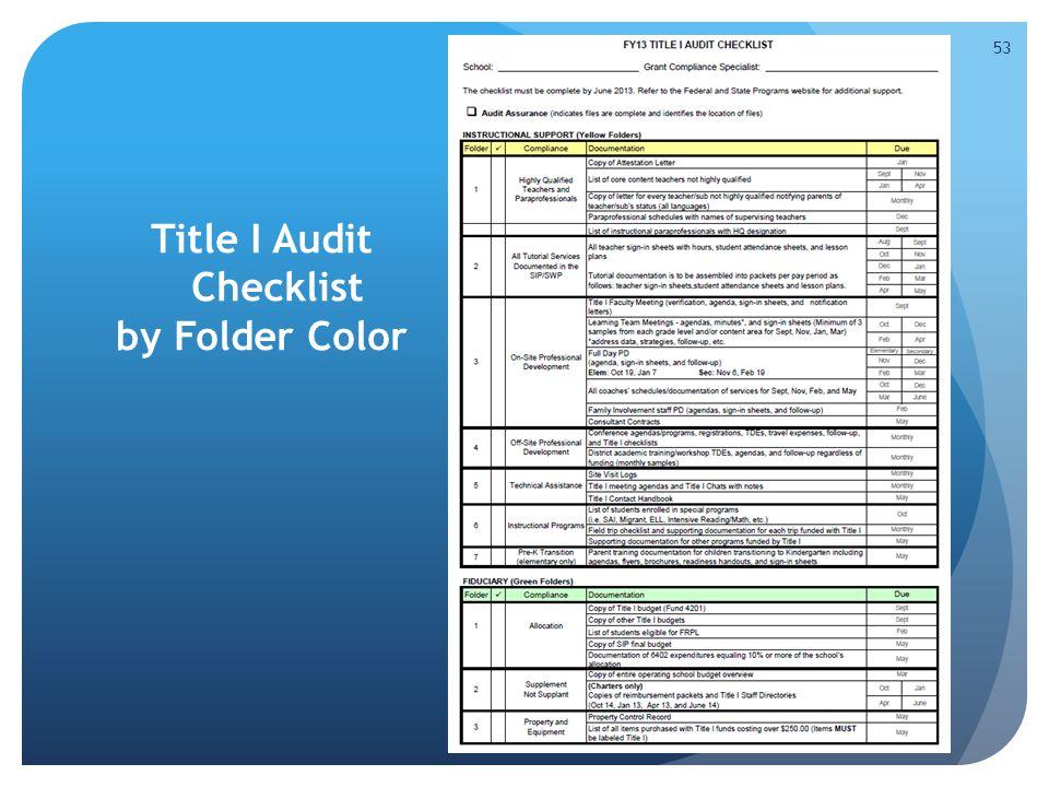 Title I Audit Checklist by Folder Color