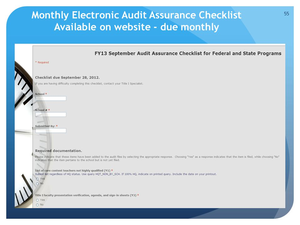 Monthly Electronic Audit Assurance Checklist