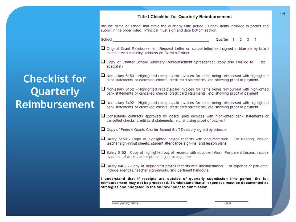 Checklist for Quarterly Reimbursement