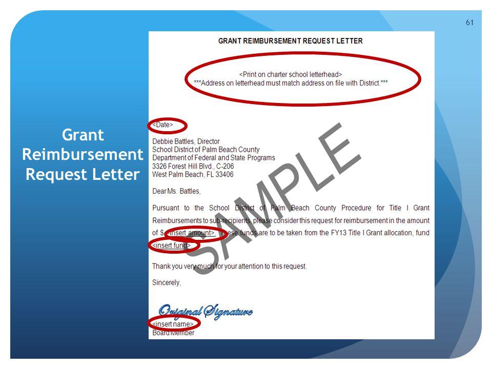 Grant Reimbursement Request Letter