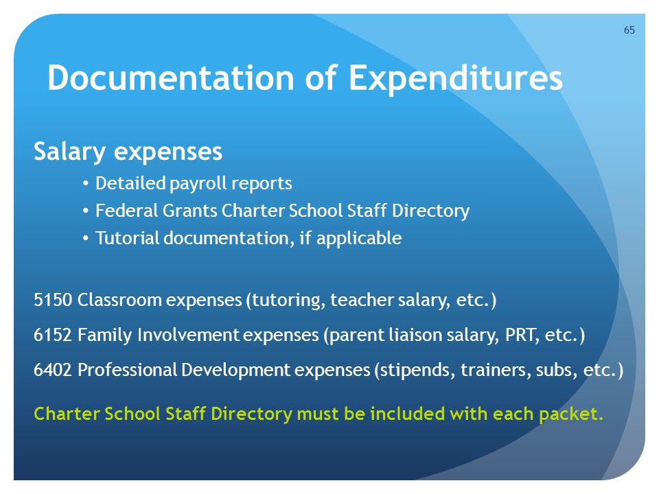 Documentation of Expenditures