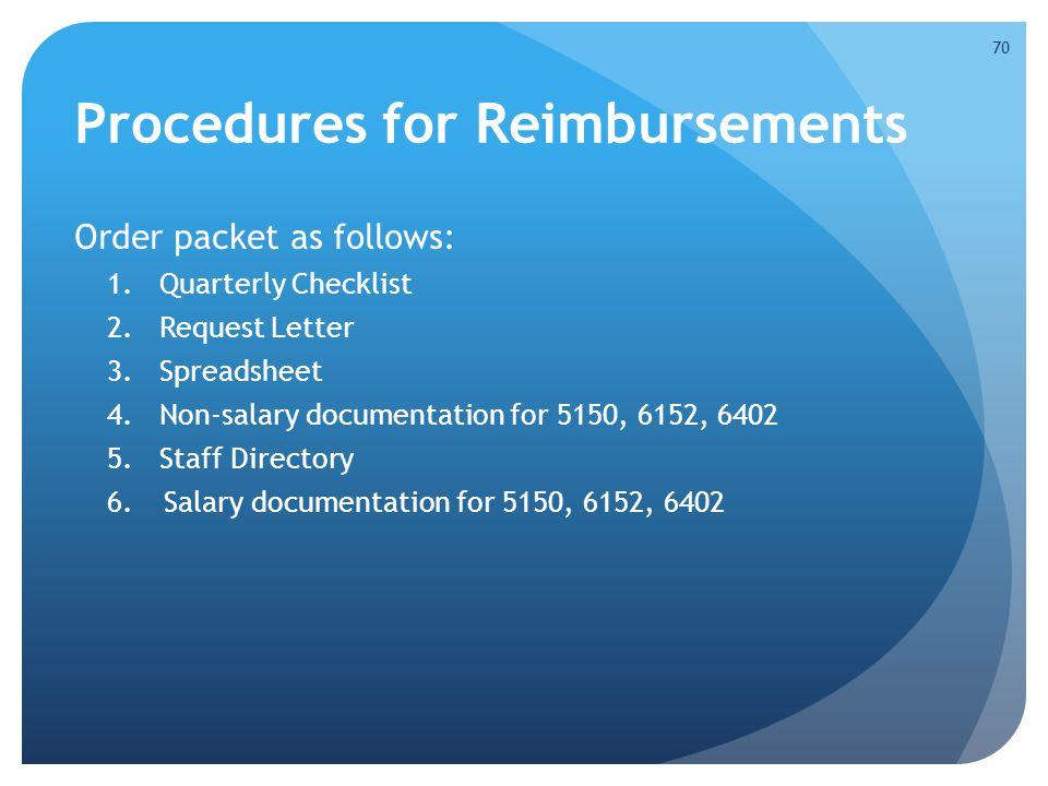 Procedures for Reimbursements
