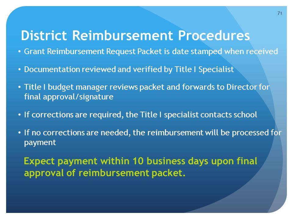District Reimbursement Procedures