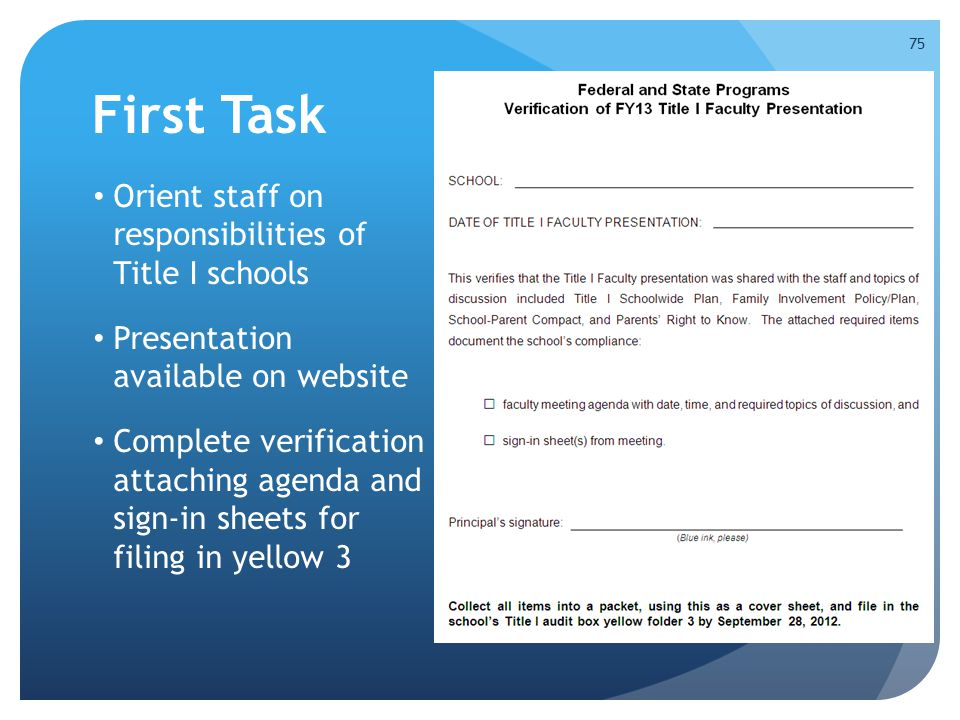 First Task Orient staff on responsibilities of Title I schools