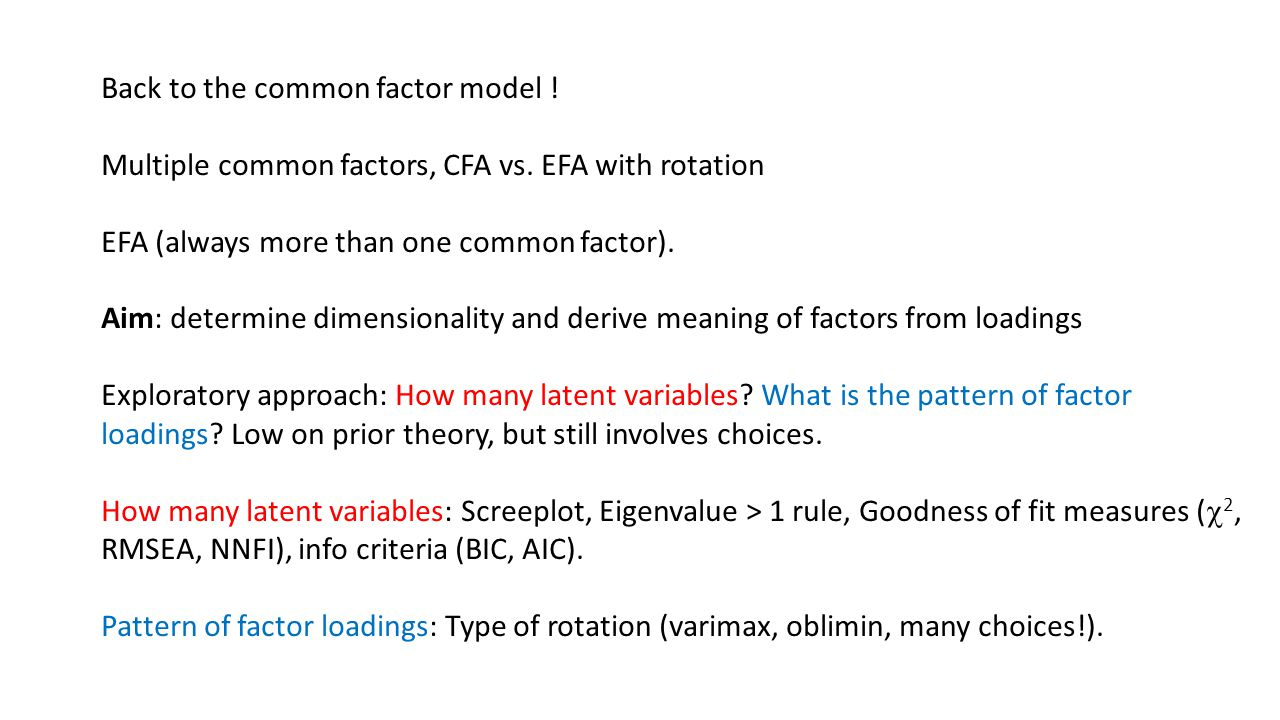 Back to the common factor model !